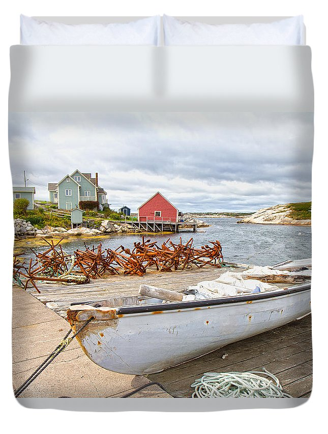 Peggy's Duvet Cover featuring the photograph Peggy's Cove 4 by Betsy Knapp