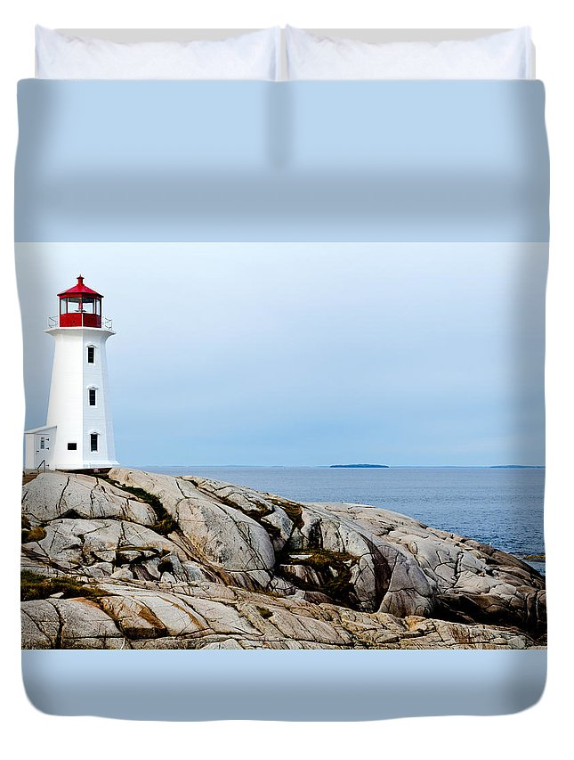 Peggys Cove Duvet Cover featuring the photograph Peggy's Cove Light II by Dan Dooley