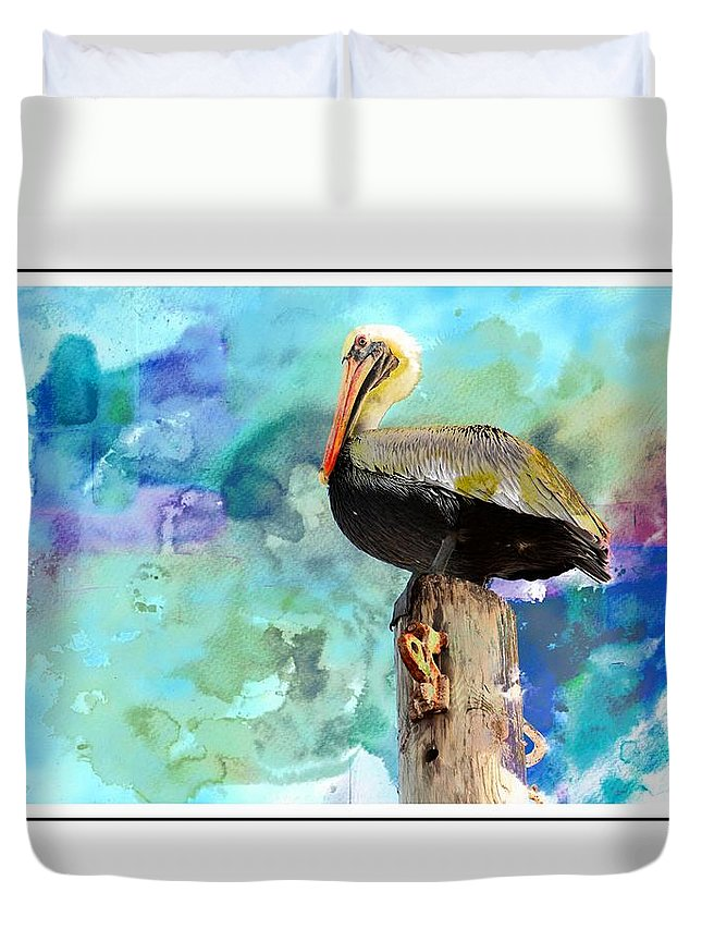 Pelican Duvet Cover featuring the photograph Pelican Colours by Alice Gipson