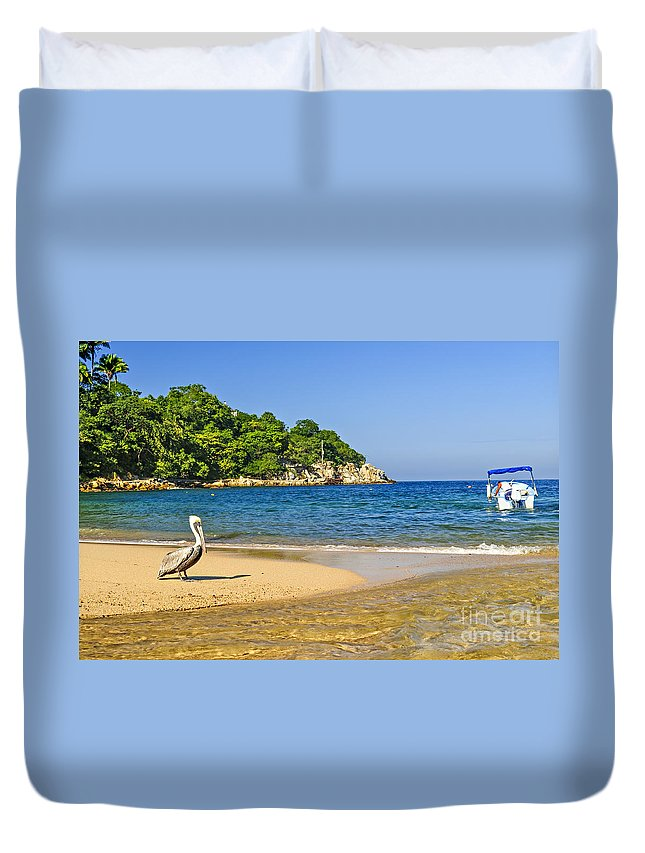 Pelican Duvet Cover featuring the photograph Pelican On Beach by Elena Elisseeva