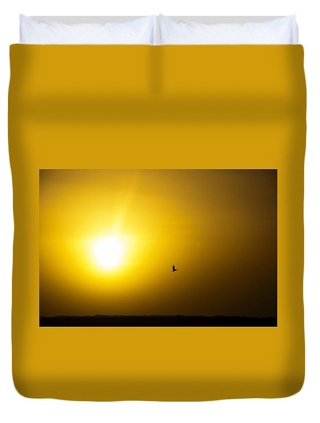 Sunrise Duvet Cover featuring the photograph Pelican Silhouette by Jess Kraft