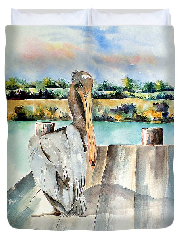 Pelican Painting Duvet Cover featuring the painting Pelican With An Attitude by Kandyce Waltensperger