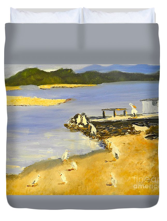 Impressionism Duvet Cover featuring the painting Pelicans On The Shore by Pamela Meredith