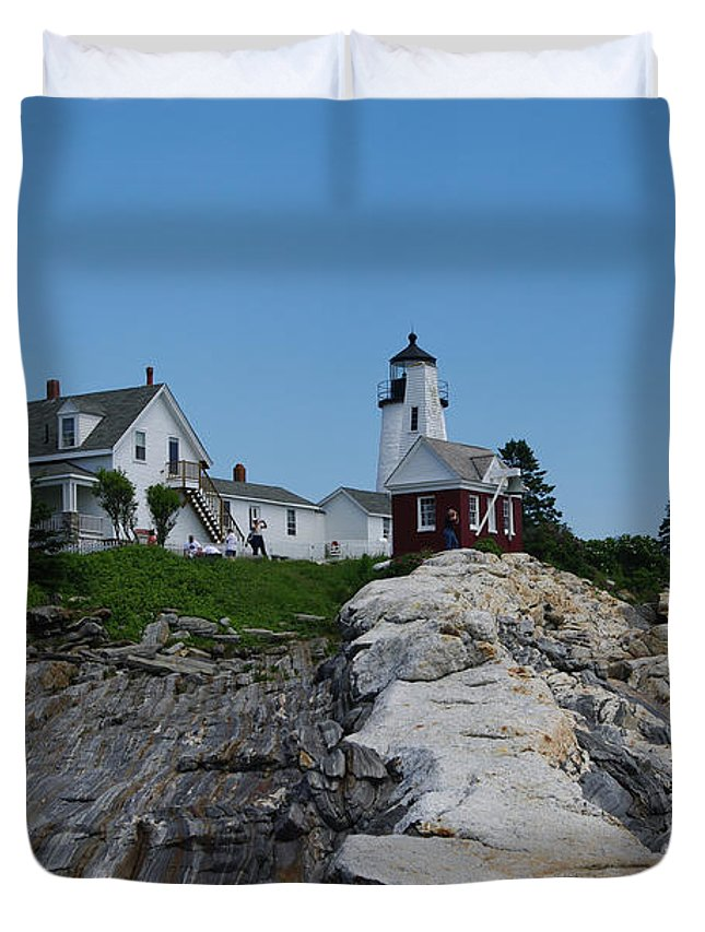 New England Photographs Duvet Cover featuring the photograph Pemaquid Point Light House by Gary Benson