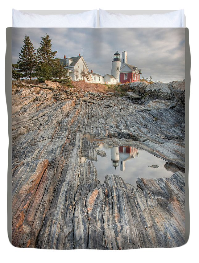 Clarence Holmes Duvet Cover featuring the photograph Pemaquid Point Light Iv by Clarence Holmes