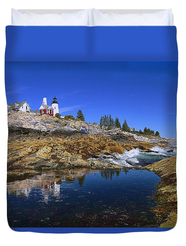 Architecture Duvet Cover featuring the photograph Pemaquid Point Lighthouse by Marcia Colelli