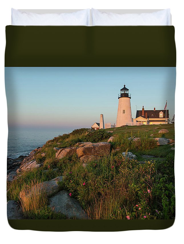 Tranquility Duvet Cover featuring the photograph Pemaquid Point Maine Lighthouse by Dave Mention Photography