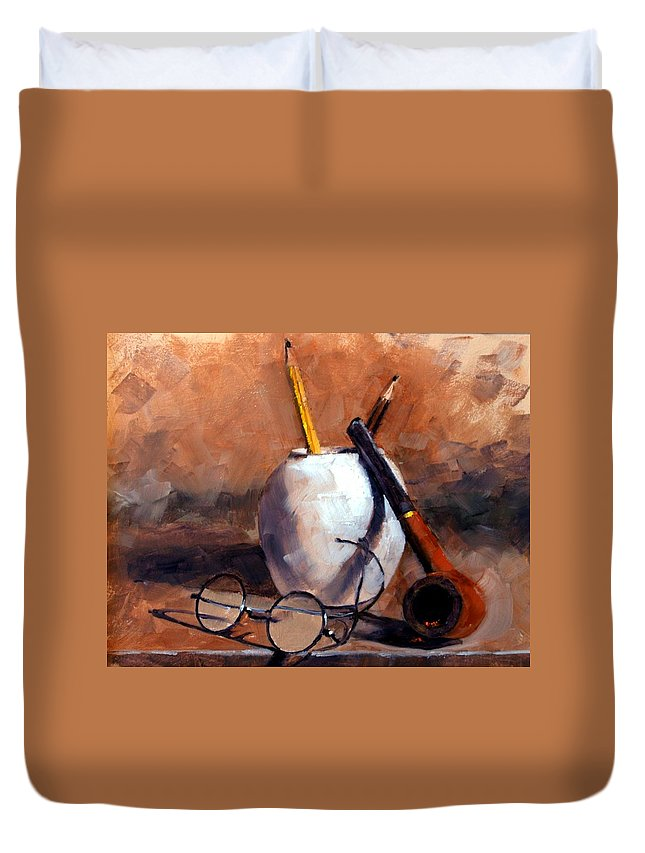 Still Life Duvet Cover featuring the painting Pencils and Pipe by Jim Gola