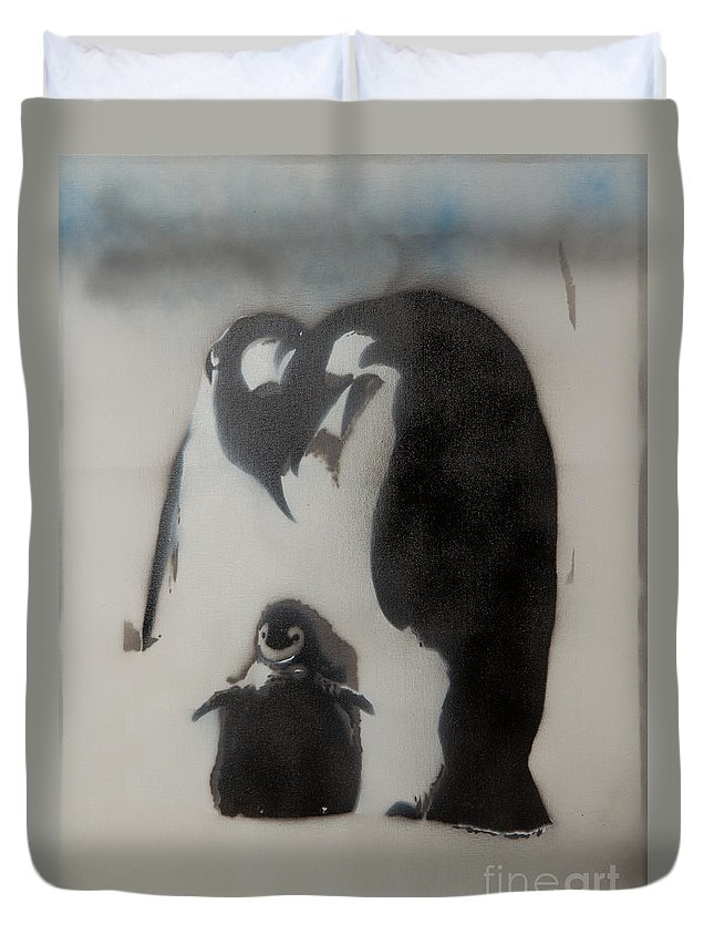 Family Duvet Cover featuring the painting Penguin Family by Barry Boom