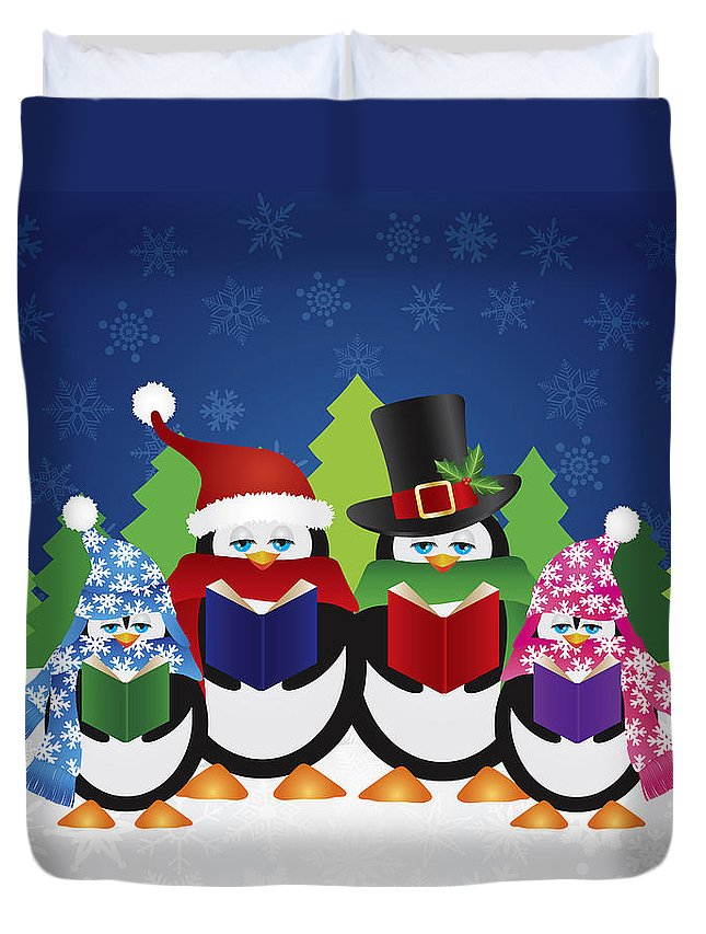 Penguins Duvet Cover featuring the photograph Penguins Carolers With Night Winter Scene by Jit Lim