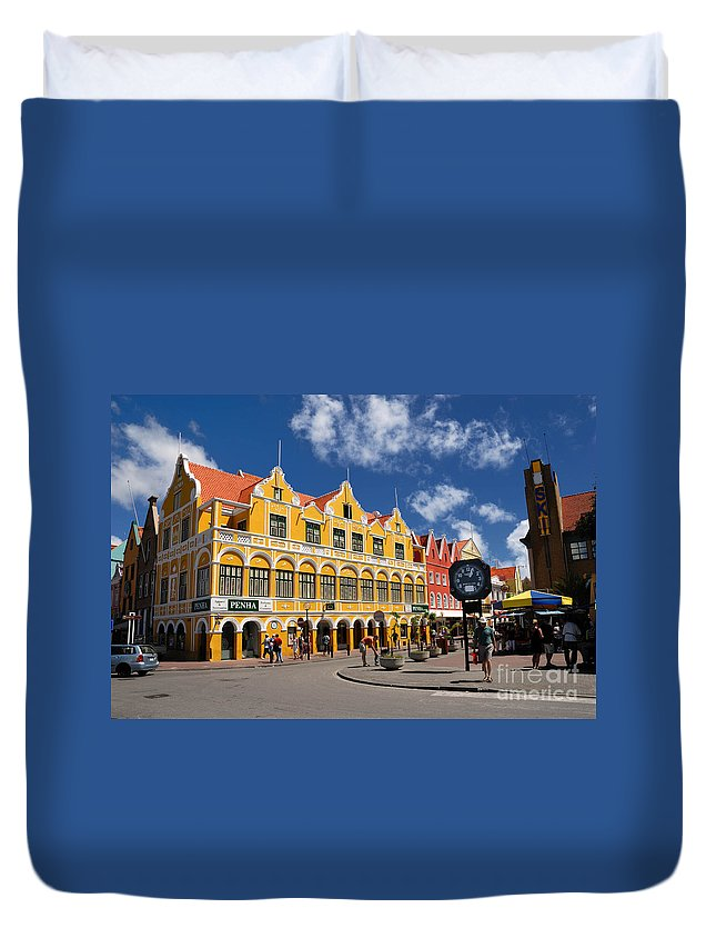 Willemstad Duvet Cover featuring the photograph Penha And Sons Curacao by Amy Cicconi