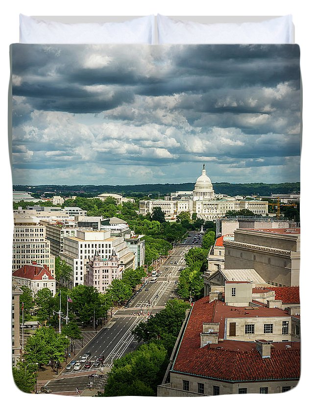 Built Structure Duvet Cover featuring the photograph Pennsylvania Avenue Leading Up To The by Miralex