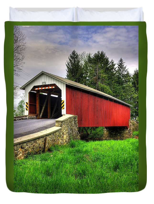 Forry's Mill Covered Bridge Duvet Cover featuring the photograph Pennsylvania Country Roads - Forry's Mill Covered Bridge - Lancaster County Spring No. 2 by Michael Mazaika