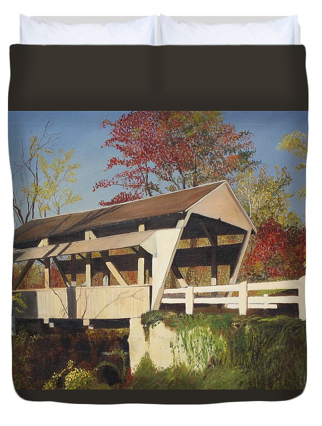 covered Bridge Duvet Cover featuring the painting Pennsylvania Covered Bridge by Barbara McDevitt