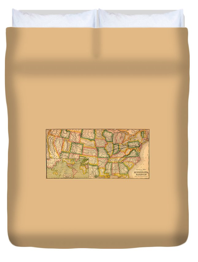 Map Duvet Cover featuring the drawing Pennsylvania Railroad Map 1879 by Mountain Dreams