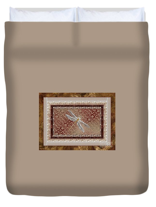 Dragonfly Duvet Cover featuring the painting Penny Postcard Sophisticated by RC DeWinter