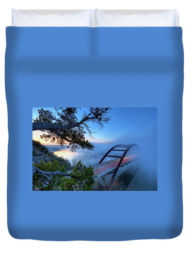 Tranquility Duvet Cover featuring the photograph Pennybacker Bridge In Morning Fog by Evan Gearing Photography