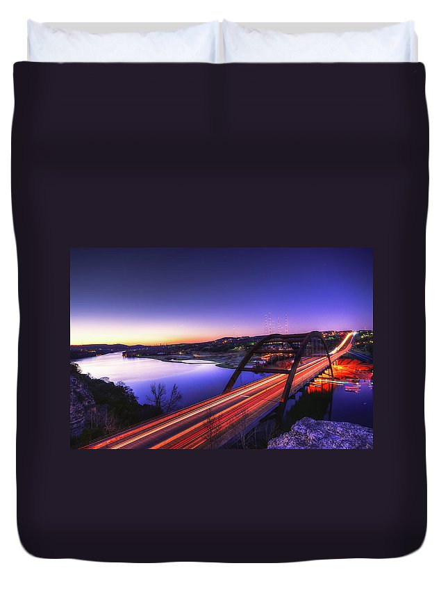 Tranquility Duvet Cover featuring the photograph Pennybacker Bridge by John Cabuena Flipintex Fotod