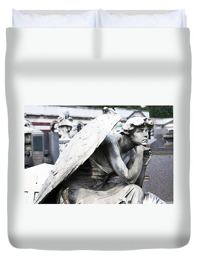 Horizontal Duvet Cover featuring the photograph Pensive Angel Monumental Cemetery Milan Italy by Sally Rockefeller