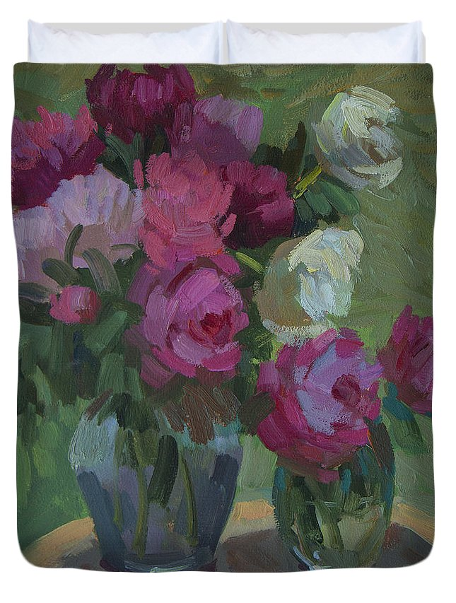Peonies Duvet Cover featuring the painting Peonies In The Shade by Diane McClary