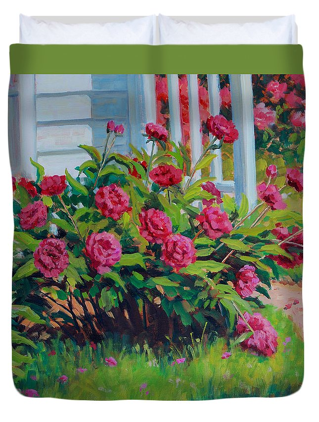 Impressionism Duvet Cover featuring the painting Peonies by Keith Burgess