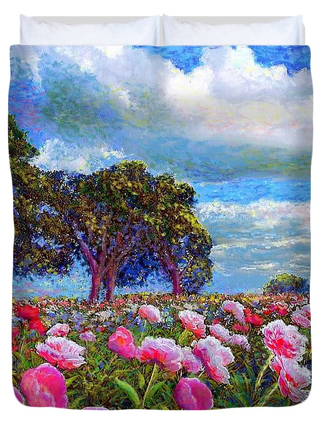 Sun Duvet Cover featuring the painting Peony Heaven by Jane Small