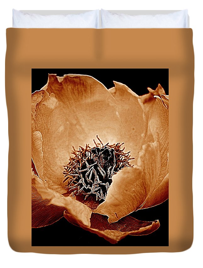 Peony Duvet Cover featuring the photograph Peony by Kathy Sampson