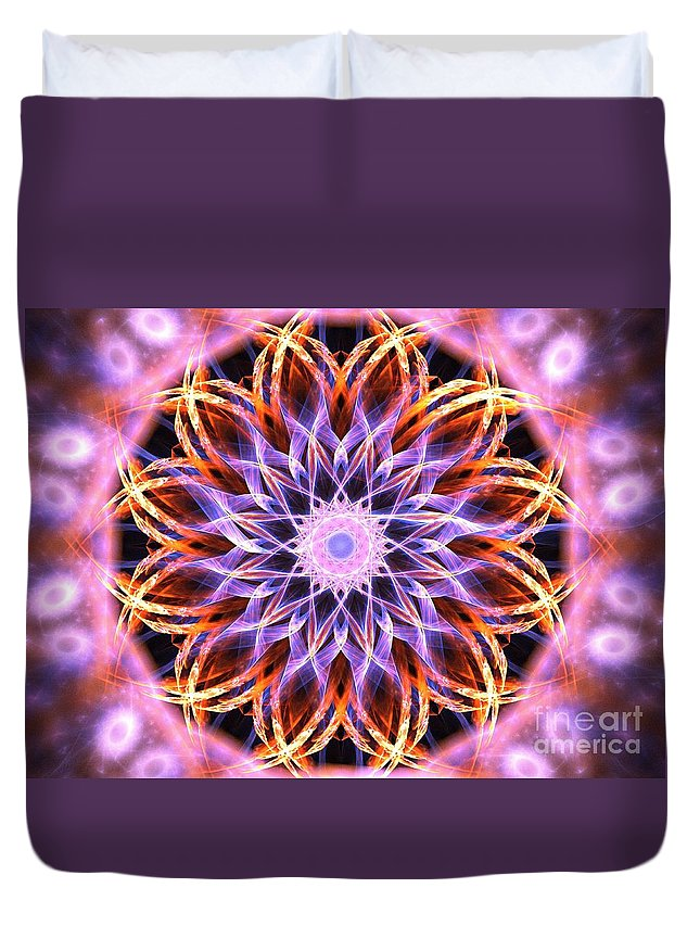 Apophysis Duvet Cover featuring the digital art Peony by Kim Sy Ok