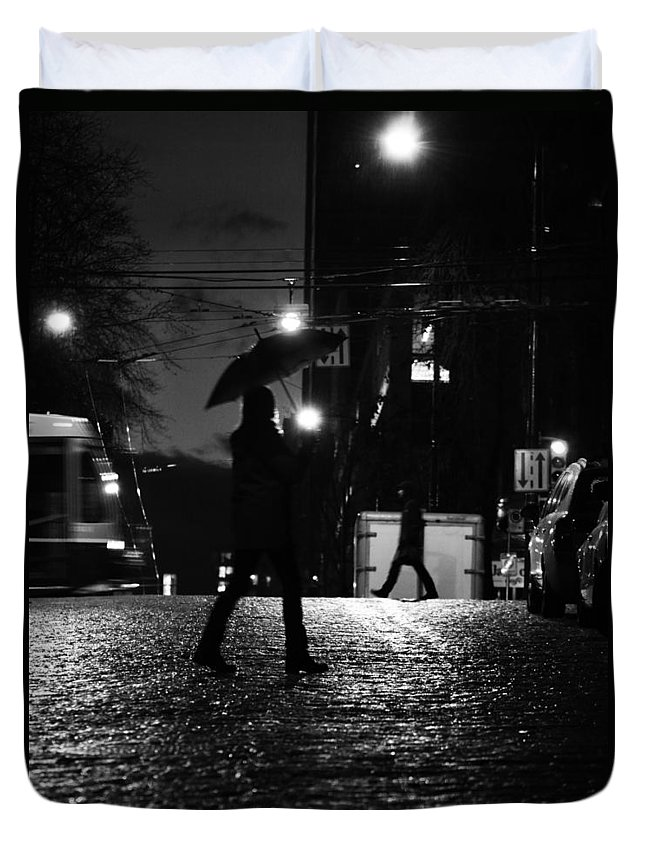 Street Photography Duvet Cover featuring the photograph People In Rain by The Artist Project