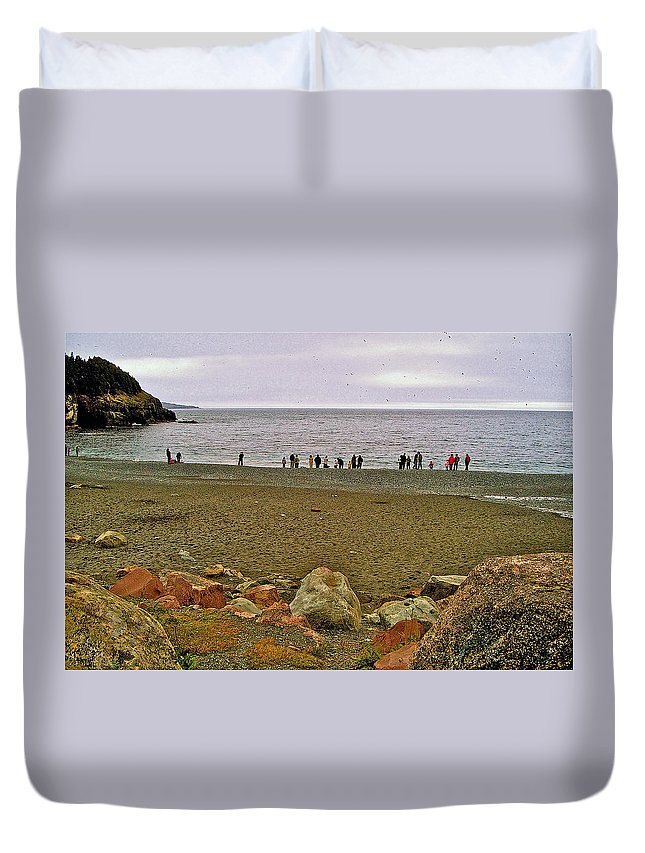 People Lined Up To Catch Capelin On The Shore Of Middle Cove Duvet Cover featuring the photograph People Lined Up To Catch Capelin On The Shore Of Middle Cove-nl by Ruth Hager