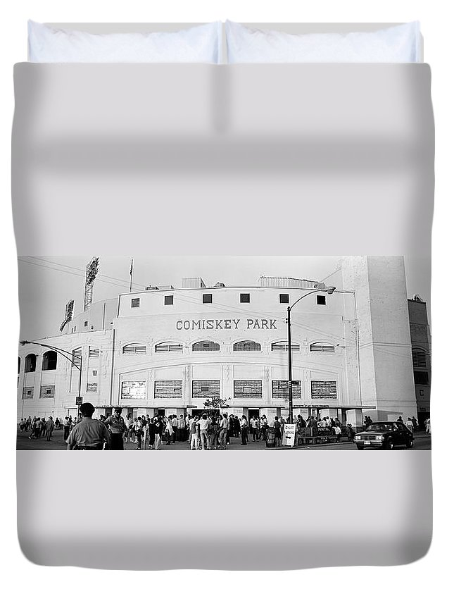 Photography Duvet Cover featuring the photograph People Outside A Baseball Park, Old by Panoramic Images