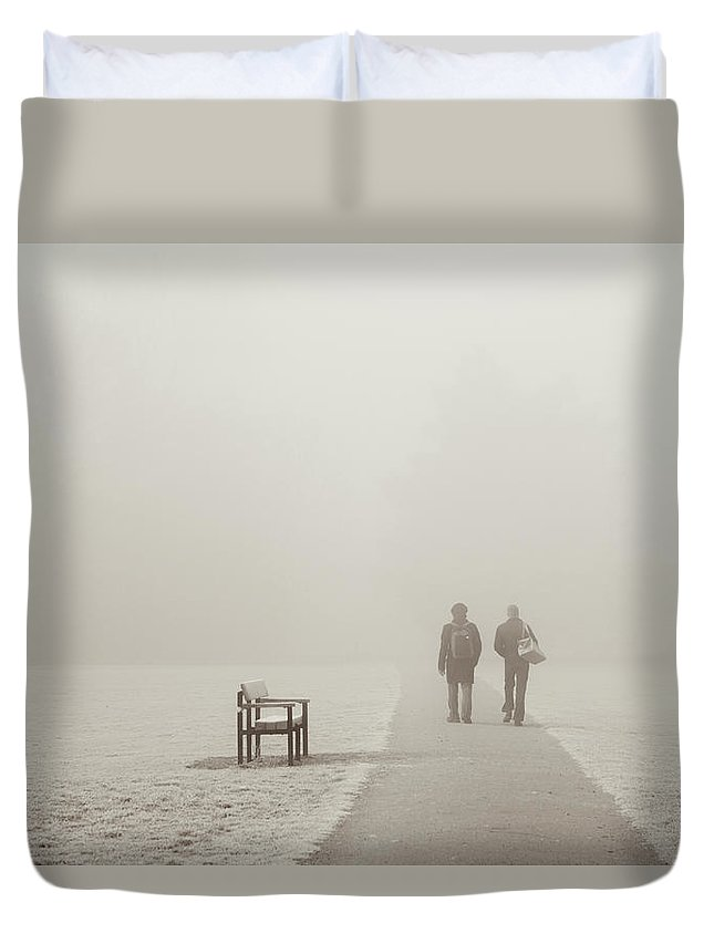 Cool Attitude Duvet Cover featuring the photograph People Walking On A Misty Morning by Elaine W Zhao