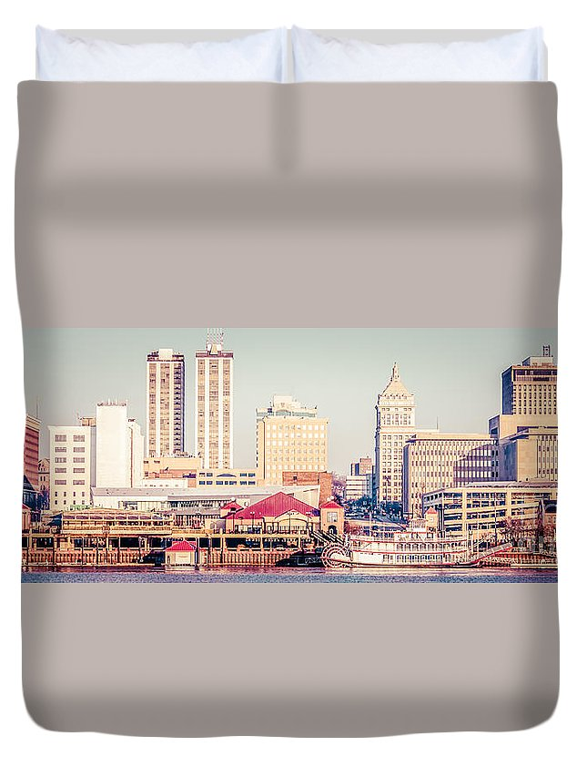 1950s Duvet Cover featuring the photograph Peoria Illinois Skyline Retro Panorama Picture by Paul Velgos