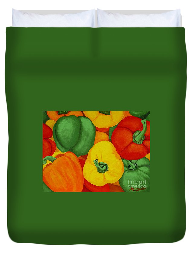 Peppers Duvet Cover featuring the painting Peppers by Anthony Dunphy