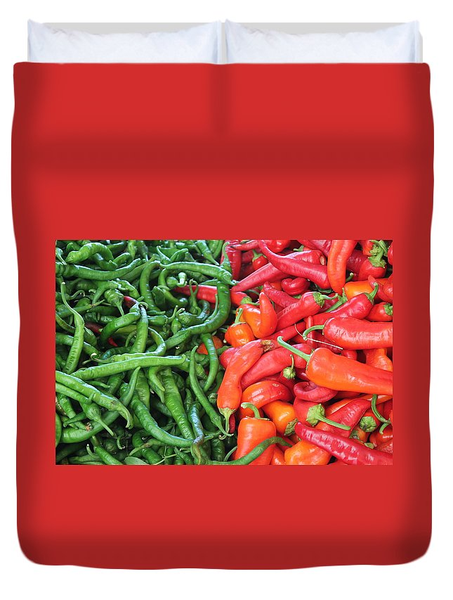 Vegetables Duvet Cover featuring the photograph Peppers by John Halliday