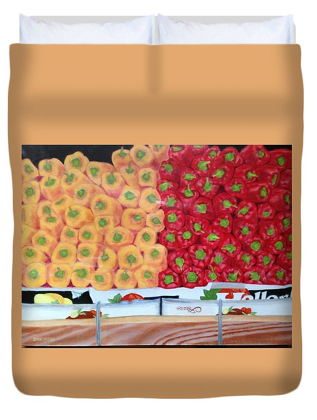 Peppers Duvet Cover featuring the painting Peppers Red And Yellow by Leslie Dannenberg