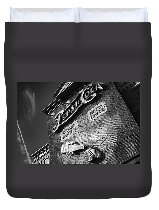 Pepsi Duvet Cover featuring the photograph Pepsi Cola Vintage Logo by Stephanie McDowell