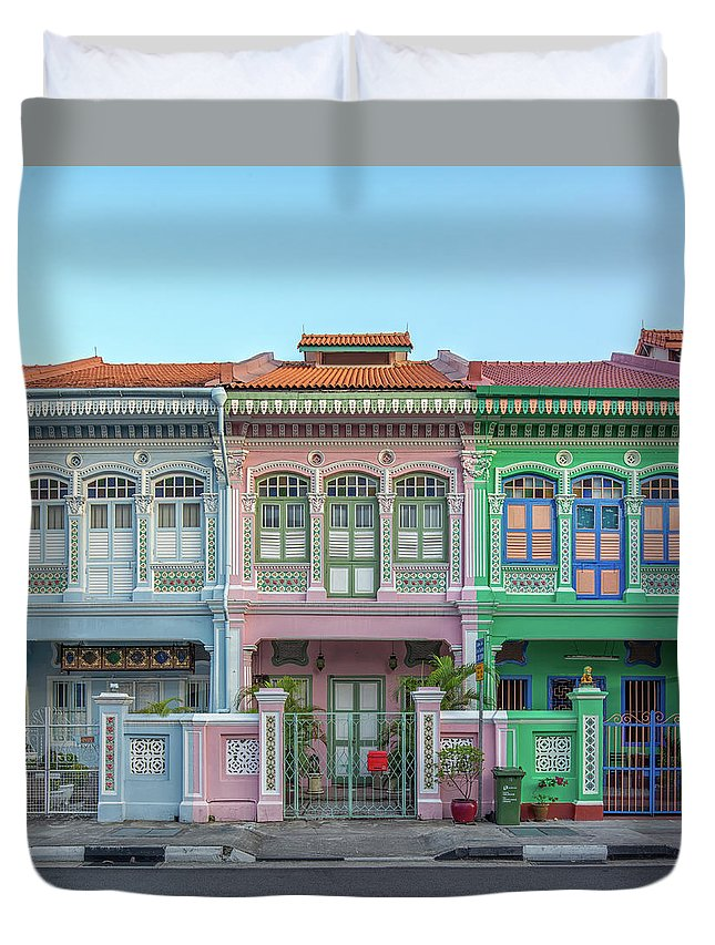 Tranquility Duvet Cover featuring the photograph Peranakan Architecture by Edward Tian
