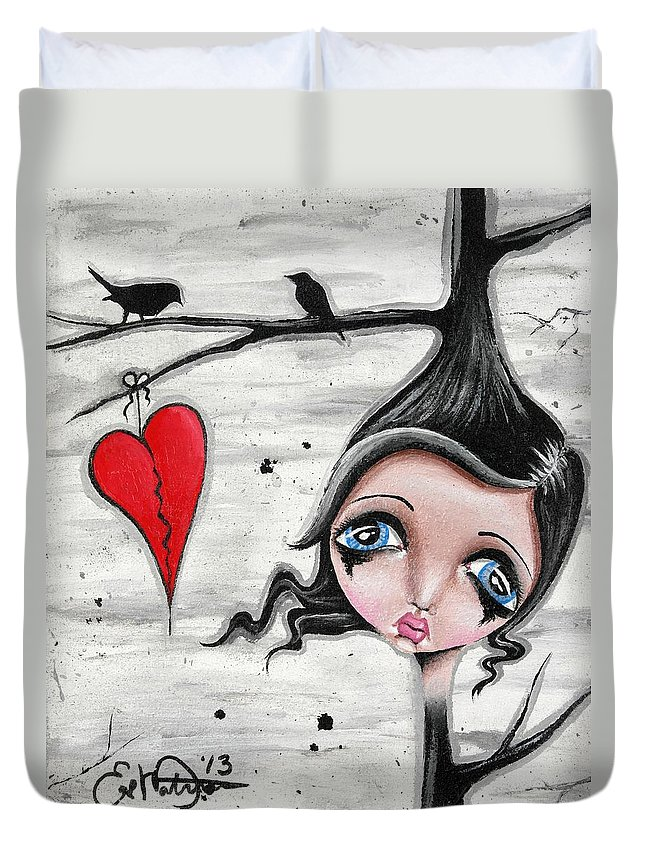 Pop Surrealism Duvet Cover featuring the painting Perch To Land by Oddball Art Co by Lizzy Love