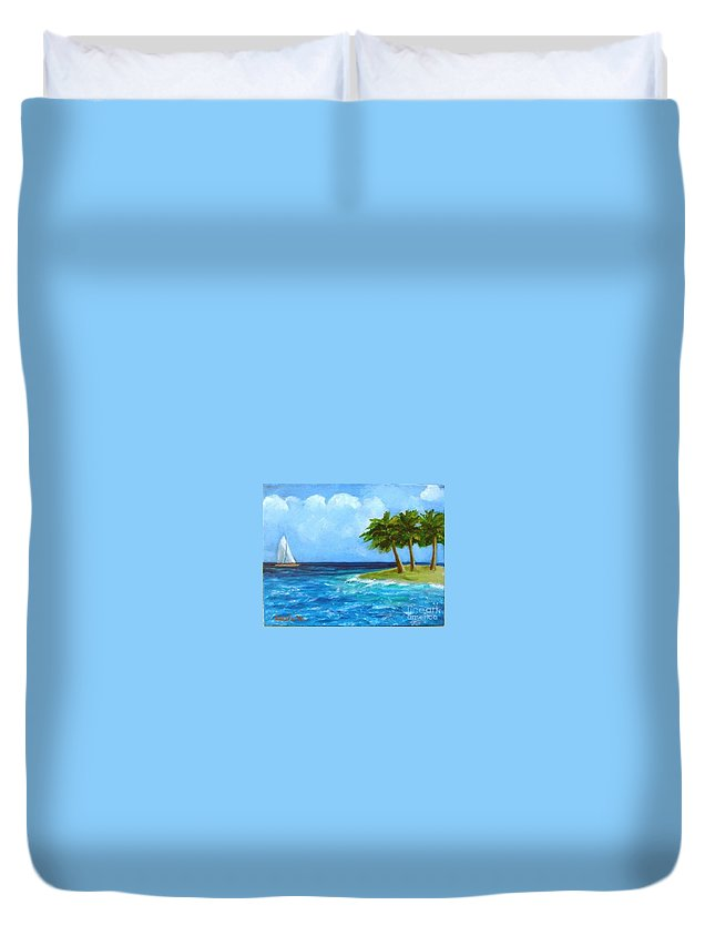 Boats Duvet Cover featuring the painting Perfect Sailing Day by Laurie Morgan