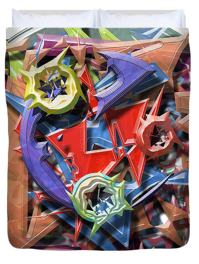 Warrenswork Duvet Cover featuring the digital art Perfect Storm by Warren Lynn