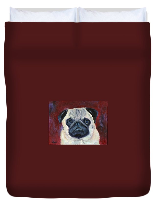 Dog Portraits Duvet Cover featuring the painting Perfectly Pug by Deborah Butts