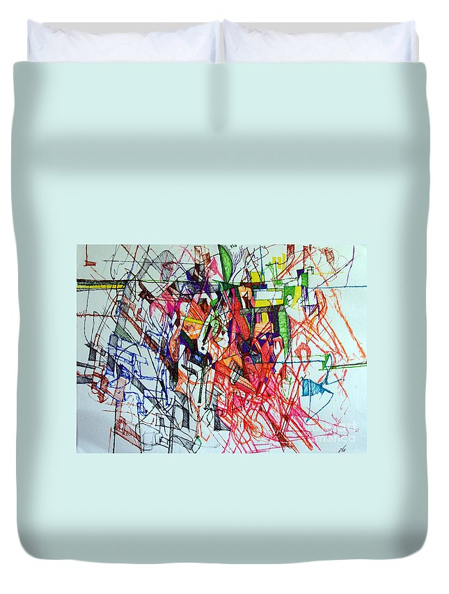 Torah Duvet Cover featuring the drawing Perhaps You Know Better 2 by David Baruch Wolk