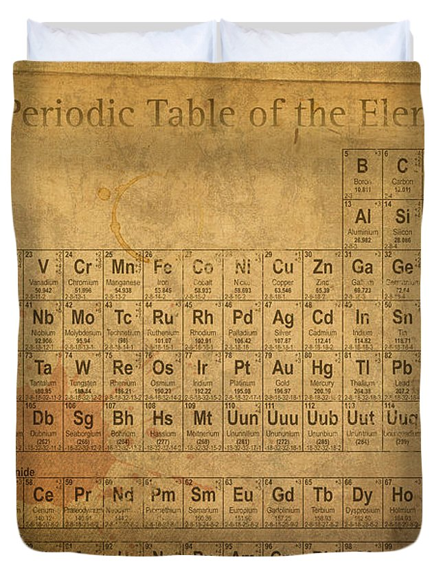 Periodic table of the elements duvet cover for sale by design turnpike periodic duvet cover featuring the mixed media periodic table of the elements by design turnpike urtaz Gallery