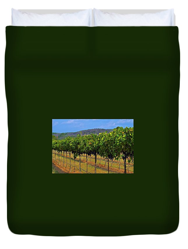Wine Vineyard Print Duvet Cover featuring the photograph Perissos Hill Country Vineyard by Kristina Deane