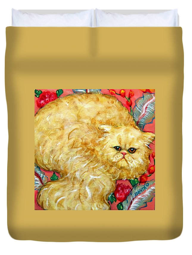Persian Cat Duvet Cover featuring the painting Persian Cat On A Cushion by Rebecca Korpita