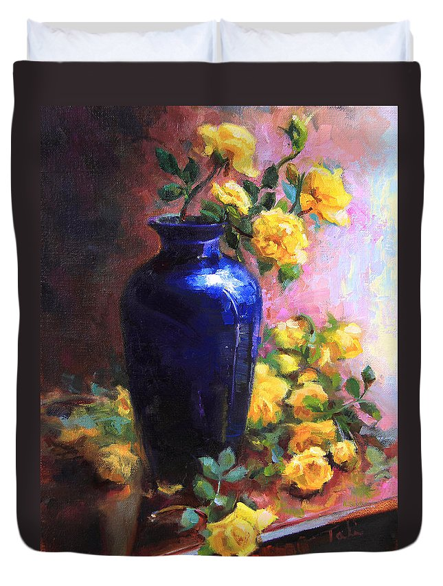 Persian Duvet Cover featuring the painting Persian Cobalt - Yellow Roses In Cobalt Vase by Talya Johnson