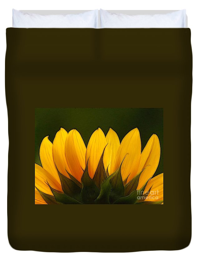 Sunflower Duvet Cover featuring the photograph Petales De Soleil - A01 by Variance Collections