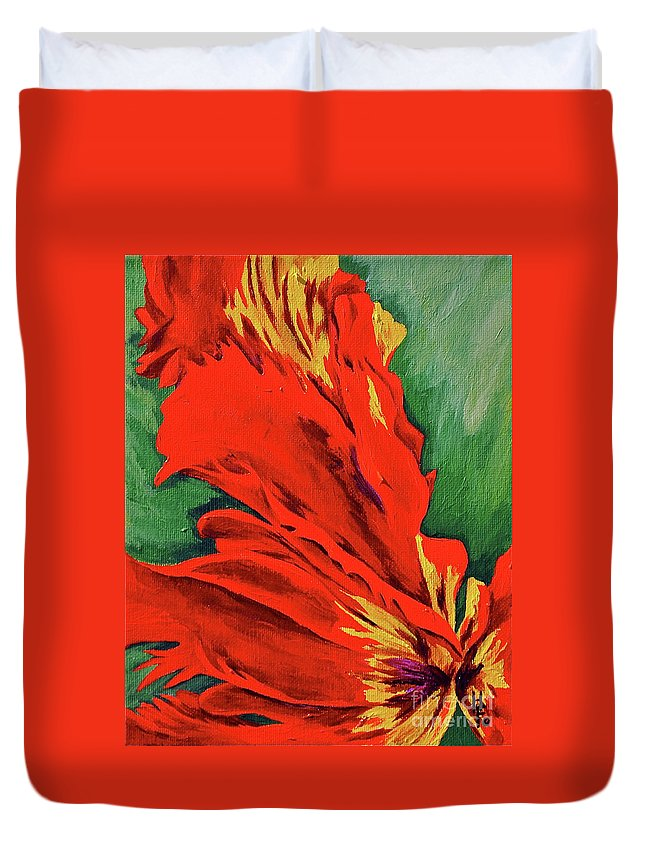 Abstracts Duvet Cover featuring the painting Petals Of Fire Two by Herschel Fall