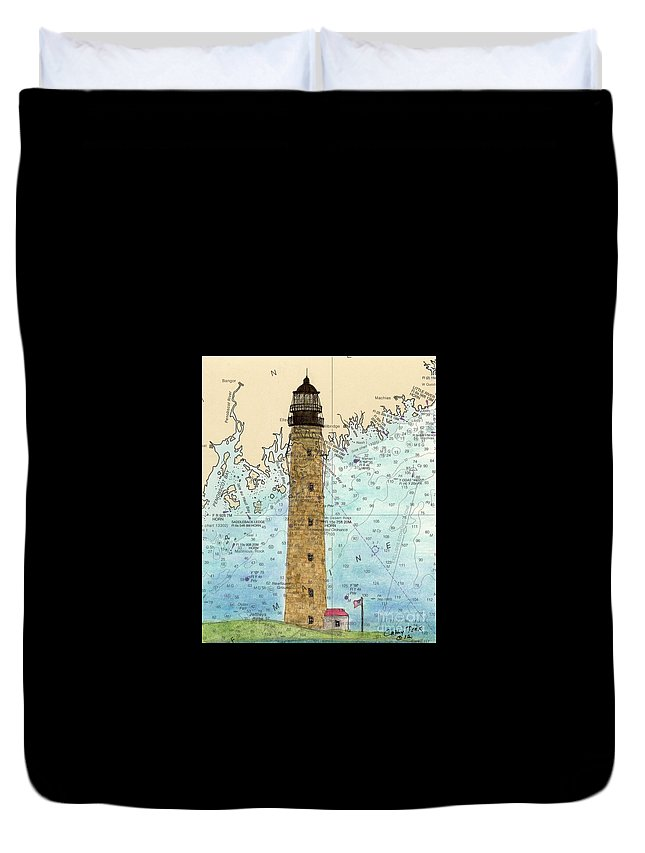 Petit Duvet Cover featuring the painting Petit Manan Island Lighthouse Me Nautical Chart Map Art by Cathy Peek